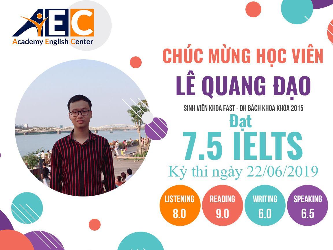 Lê Quang Đạo - học viên lớp IELTS 5.5